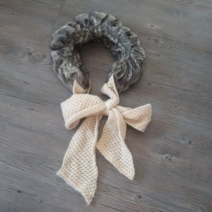 Anthropologie Scarf with fur and knit bow tie